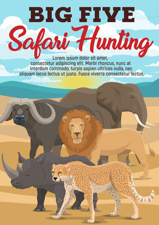 African hunting sport and travel. Vector exotic wild animals in desert. Safari hunt among dangerous lion and leopard, huge elephant and rhinoceros, heavy buffalo with horns Illustration