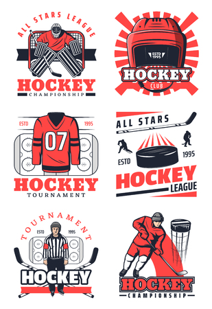 Ice hockey sport game vector icons and symbols. Players in uniform on skates, pucks and sticks, protective masks and helmet. Professional league tournament championship elements Illusztráció
