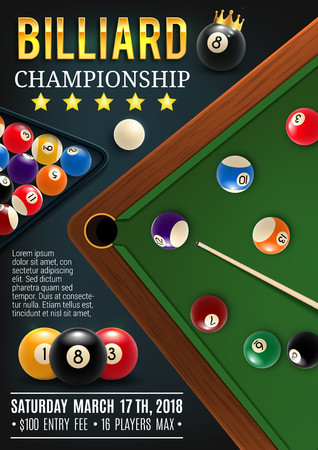 Pool billiards sport championship announcement poster. Color balls with numbers on green table, hole and cue. Vector billiards tournament, professional league