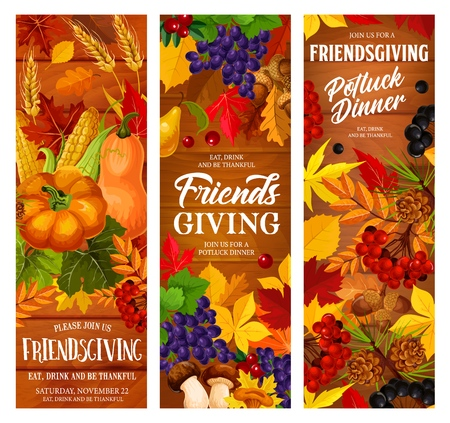 Friendsgiving potluck dinner, vector Thanksgiving Day holiday. Autumn pumpkin, yellow maple leaf and fallen foliage, grape and berry, vegetables and mushroom on the wood
