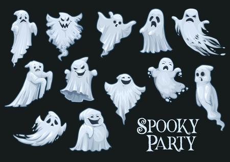 Fantasmas de la fiesta de Halloween con caras emocionales. Monstruos o bestias, espíritu humano y poltergeist en fiesta nocturna de invitación malvada. Emociones enojadas y felices, tristes y sorprendidas