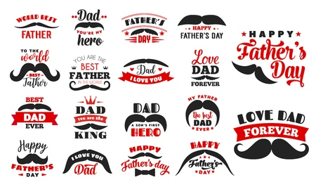 Fathers day holiday icons. Vector vintage and hipster mustache with lettering. Male family member or parent congratulation, fatherhood celebration, dad greeting symbols