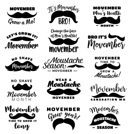 Movember season monochrome icons with lettering, no shave month. Vector male prostate cancer awareness month, vintage symbols
