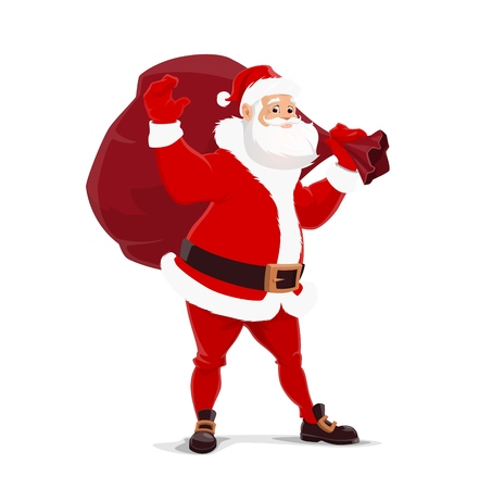 Santa Claus with bag of gifts. Vector Christmas symbolic fairy character. Elderly man with white beard in red clothes, belt and boots, mittens and coat. Winter holiday celebration