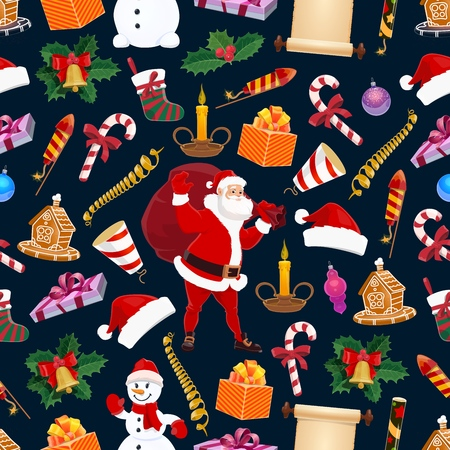 Merry Christmas winter holiday seamless pattern. Vector Santa Claus and snowy pine tree, fir wreath and gingerbread house, cane candy, cracker, sock and firework, snowman and garland