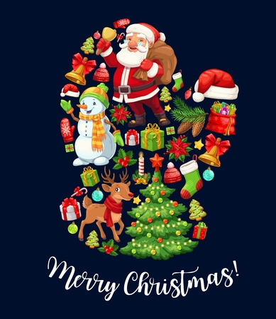 Santa glove with Christmas and New Year holidays cartoon characters. Claus and snowman with gifts, Xmas tree and reindeer, jingle bell, presents and ball, gingerbread, red hat and socks, vector design