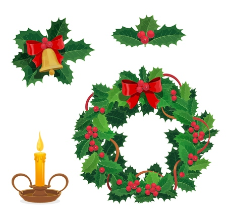 Christmas wreath, holly berry and Xmas decorations. Vector jingle bell with bow and candle, winter holiday celebration. New Year and festive objects, traditional adornments or house decor isolated Ilustracje wektorowe