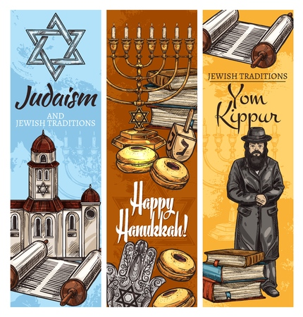 Judaism religion Hanukkah and Yom Kippur holidays symbols. Menorah, donut and dreidel, Star of David, torah and book, rabbi, synagogue and hamsa hand sketches. Jewish traditions vector design