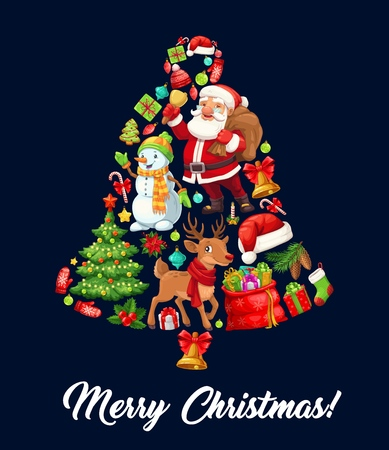 Christmas bell composed of cartoon Santa Claus, Xmas tree and gift, snowman, reindeer and candy cane, red hat, gingerbread and sock, ball, holly berry and pine cone. Winter holidays, vector