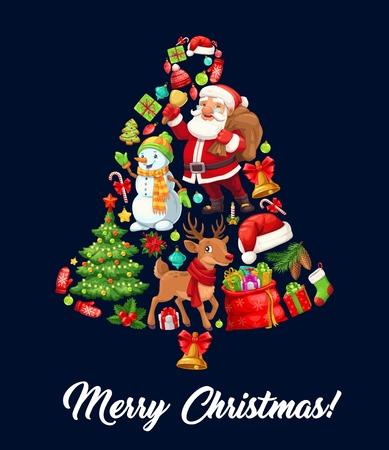 Kerstklok samengesteld uit cartoon Santa Claus, kerstboom en cadeau, sneeuwpop, rendier en snoepgoed, rode hoed, peperkoek en sok, bal, hulstbes en dennenappel. Wintervakantie, vector