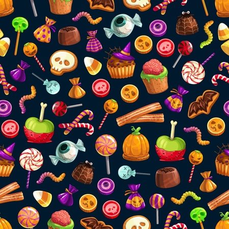 Halloween treats vector seamless pattern of candies and sweets, cupcakes and jellies or lollipops. Sweet brain and worm, skull and cane, bat and eyeball, witch hat and spider, net and pumpkin Stock Vector - 109910833