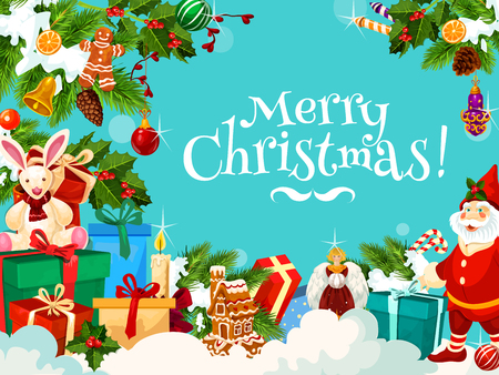 Merry Christmas greetings, Santa gifts on snow blue background. Vector gingerbread cookie and candle decoration of winter holiday season, toys and snow, gnome dwarf and Christmas tree