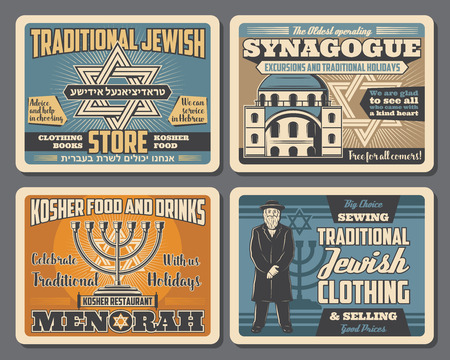Jewish Hanukkah menorah, Star of David or hebrew magen, synagogue and rabbi retro cards. Kosher food and drinks store, national cuisine restaurant or traditional clothing shop, vector vintage signboard