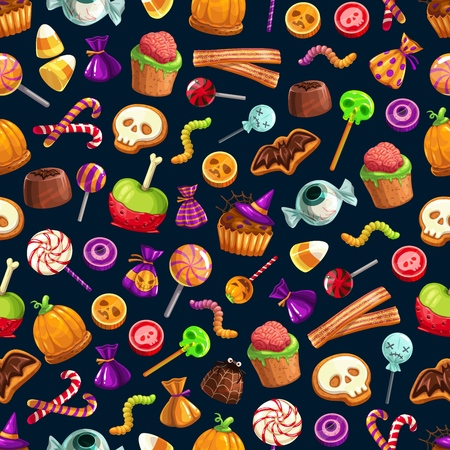 Happy Halloween treats seamless pattern, candies and sweets, cupcakes and jellies or lollipops. Vector brain and worm, skull and cane, bat and eyeball. Witch hat and spider, net and pumpkin, spooky objects