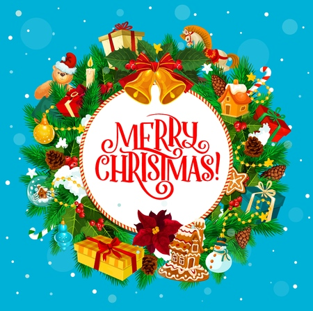 Christmas holiday round greetings with fir wreath and presents. Vector jingle bells and gift boxes, toys and gingerbread house, decorations, Xmas tree and toys. Holly berry and cane candy, cones