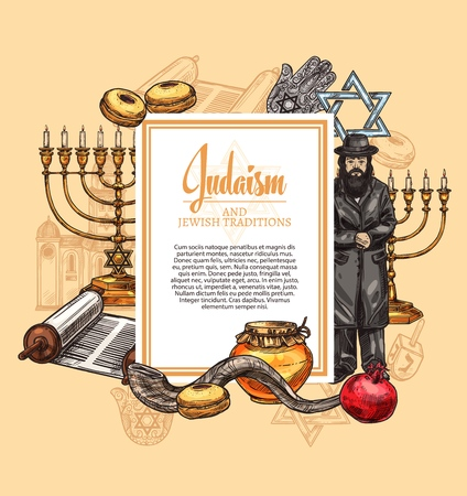 Judaism religion and Israel Jewish traditions and culture. Vector symbols of Torah scroll, synagogue rabbi priest and Hanukkah Menorah with David Star, shofar horn and Hamsa hand amulet Vectores
