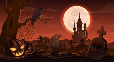 Halloween horror night cemetery with tombstone and zombie hand. Vector Halloween Trick or Treat holiday full moon graveyard with haunted castle, pumpkin skull lanterns and witch crow Illusztráció