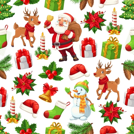 Christmas seamless pattern with Santa Claus, Xmas tree and gifts, snowman and reindeers. Winter holidays bells, toys and presents, socks, red hats, holly berries and poinsettia vector background