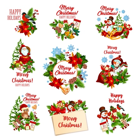 Christmas festive badges of winter holiday gifts. Santa Claus, snowman and Xmas tree garland icon, adorned by snowflake, bell and candy, present, ribbon bow and cookie, holly berry, sock and calendar Vetores