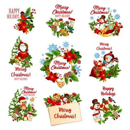 Distintivi festivi di Natale di regali per le vacanze invernali. Babbo Natale, pupazzo di neve e icona della ghirlanda dell'albero di Natale, adornata da fiocco di neve, campana e caramelle, regalo, fiocco di nastro e biscotto, bacche di agrifoglio, calzino e calendario Vettoriali