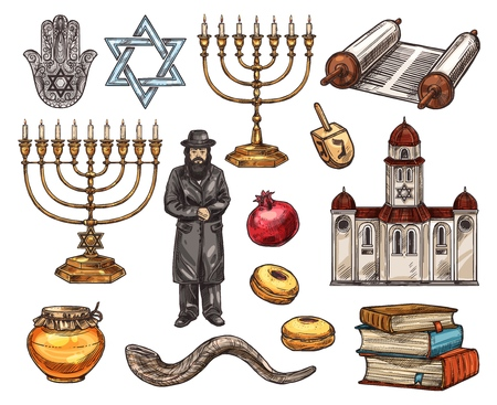 Judaism religion symbols, Jewish religious sketch icons. Vector hamsa hand and david star, candlestick and holy text ingot or Torah, orthodox Jew and pomegranate. Temple or church, book pile and honey