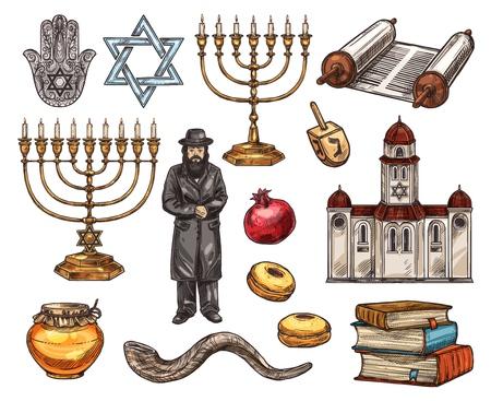 Judentum Religionssymbole, jüdische religiöse Skizzensymbole. Vektor-Hamsa-Hand und David-Stern, Kerzenständer und heiliger Textbarren oder Tora, orthodoxer Jude und Granatapfel. Tempel oder Kirche, Bücherstapel und Honig