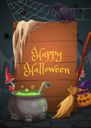 Halloween holiday, vector wooden board, cauldron with potion and broomstick, fly agaric and pumpkin or jack lantern, spider and crow, net and dirt. Witch cave spooky interior and evil night