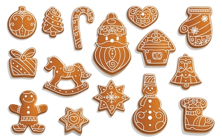 Christmas gingerbread cookies, winter holiday food. Vector Xmas tree and ball, cane and Santa, heart and house, mitten and gift box. Horse and snowflake, snowman and boot, jingle bell and star Stockfoto - 109912822