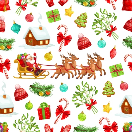 Christmas holiday seamless pattern background of Santa Claus and gifts in reindeer sleigh. Vector Xmas tree, candy canes and mistletoe, presents, gingerbread, balls and red hats. Winter holiday