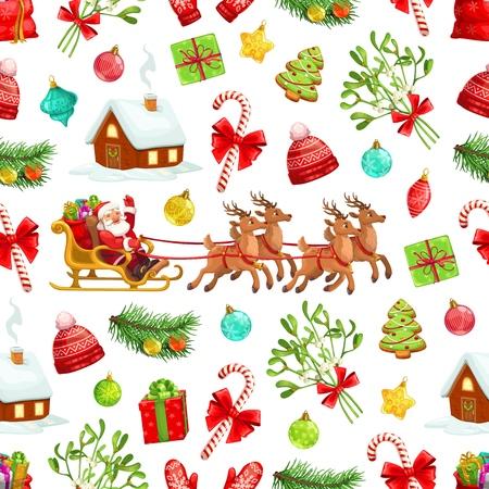 Vacances de Noël sans soudure de fond du père Noël et des cadeaux en traîneau de rennes. Arbre de Noël de vecteur, cannes de bonbon et gui, cadeaux, pain d'épice, boules et chapeaux rouges. Vacances d'hiver
