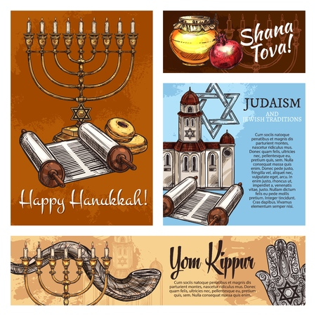 Happy Hanukkah, Shana Tova and Yom Kippur Judaism religious holidays posters. Vector Jewish traditional Rosh Hashanah shofar horn, Hanukkah menorah or Torah scroll and synagogue with Hamsa hand amulet Foto de archivo - 110063134
