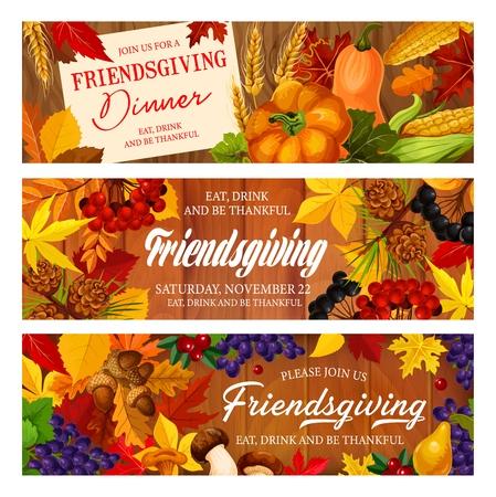 Friendsgiving potluck, Thanksgiving dinner. Autumn fallen leaves, harvest pumpkin vegetable and fruit, maple foliage, acorn and mushroom on wooden background, Thanksgiving Day vector design 向量圖像