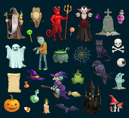 Halloween holiday scary and evil vector characters, objects. Wizard and owl, devil and vampire, grave, treat, potion, ghost and zombie, pumpkin and cat, skull and witch, frog and crow, bat and castle Illusztráció