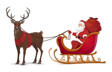 Weihnachtsmann-Schlitten mit Rentieren und Weihnachtsgeschenken. Weihnachten und Neujahr Winterferien Vektordesign von Cartoon Weihnachtsmann mit roter Geschenktüte im Schneeschlitten mit fliegenden Hirschen und Glocken Vektorgrafik
