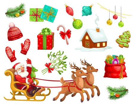 Christmas holiday characters and icons. Vector cartoon Santa Claus on reindeer sleigh with New Year gifts bag, gingerbread, mistletoe and candy cane, Xmas tree, red hat and mittens with house in snow