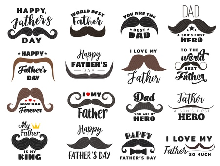 Fathers day vector holiday icons. Hipster mustache with lettering and font, heart or crown. Male family member or parent congratulation, fatherhood celebration, daddy greetings