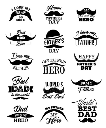 Happy Father Day lettering quotes with black mustaches, hat and ribbon. Best Dad or I love Daddy handwritten calligraphy, Dad my hero vector design Ilustração