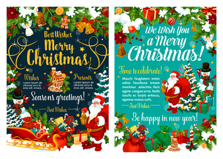 Merry Christmas season greeting card, Xmas holiday celebration posters. New Year decorations and Santa with gift bag or snowman at Christmas tree. Vector angel, golden star and bell Illustration