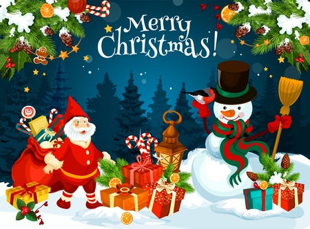 Christmas snowman and dwarf, gifts and presents. Vector Xmas tree and Santas sack, cane candy and lantern, bullfinch and gingerbread cookie. Winter holiday celebration, fairy characters in forest