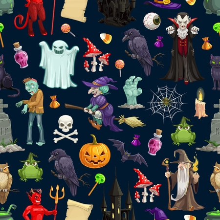 Halloween monsters vector seamless pattern. Happy Halloween holiday pumpkins and witch ghosts on trick or treat party, skeleton skull, spider, devil and vampire with dead zombie and bats Ilustração