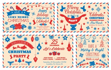 Christmas letter or postcard to Santa Claus with holidays gifts. Merry Xmas and New Year wishes with pine tree and snowflake, balls, stars and bells, candies and ribbons. Postcard vector design