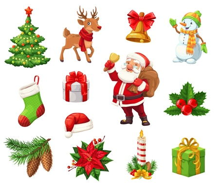 Christmas icons signs for winter holiday. Decorated Xmas tree and deer, jingle bell and snowman, stocking and gift box, Santa Claus with sack and holly berry. Cone and poinsettia flower, candle vector Stock Illustratie