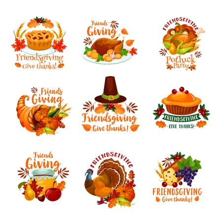 Thanksgiving Day and Friendsgiving potluck dinner icons with autumn holiday meal. Vector roasted turkey, orange pumpkin vegetable and harvest cornucopia, pilgrim hat, fallen maple leaves and fruit pie Vettoriali
