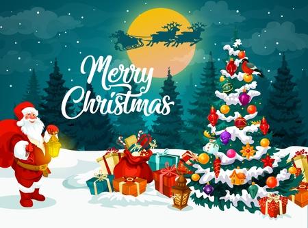 Stapel von Geschenkboxen, Weihnachtsbaum und Weihnachtsmann auf verschneiter Nachtwaldlandschaft und Weihnachtsschlitten. Frohe Weihnachtsgeschenke Vektor-Grußkarte, Winterferienfeier