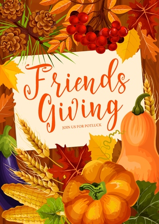 Friendsgiving Thanksgiving day holiday potluck dinner. Harvest pumpkin vegetables and fruits, maple leaves and yellow foliage border, Thanksgiving Day festival celebration design
