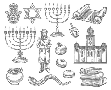 Judaism religion sketches with vector symbols of jewish holidays. Hanukkah menorah, Rosh Hashanah shofar, honey, donut and pomegranate, David Star, torah and dreidel, rabbi, synagogue, book and hamsa Archivio Fotografico - 114090722
