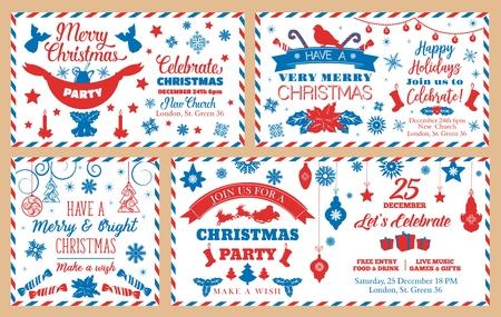Sobres de feliz Navidad, celebración de fiestas navideñas. Vector de año nuevo o decoraciones para árboles de Navidad, calcetín de regalos de Santa y trineo de renos, patrón de copos de nieve y santo con velas y adornos de ángeles