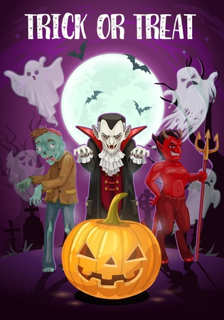 Halloween holiday, trick or treat, evil night. Vector Dracula vampire, red devil and dead zombie, ghosts or spirits, Jack lantern and full moon. Monsters and bats at graveyard with gravestones Illustration