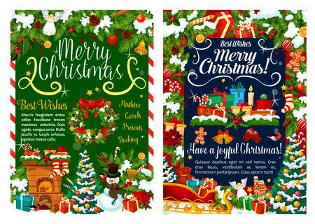 Frohe Weihnachten Grußkarte oder Weihnachtsfeier. Dekorationen und Geschenkstrümpfe am Kamin. Vektor Santa Neujahr Schlitten, Schneemann und Engel Ornament unter Weihnachtsbaum Vektorgrafik