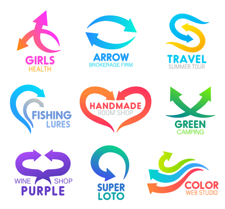 Arrow icons, business company identity. Vector abstract curved or motion arrows symbols for medical healthcare, brokerage firm or travel tours and fishing sport, handmade web studio or eco camping Illustration